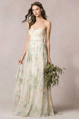 jenny-yoo-wedding-dress-with-flower-print-and-strapless-neckline