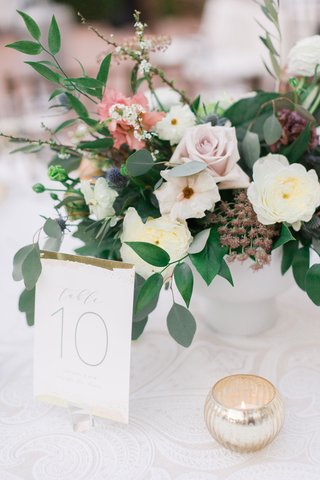 wedding-reception-white-textured-linen-low-centerpiece-ivory-pink-flowers-greenery-gold-white-number