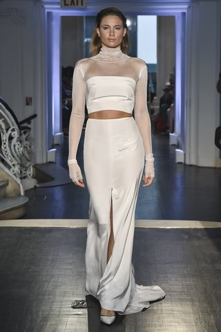lakum-fall-2018-crepe-strapless-bustier-silk-tulle-long-sleeve-top-crepe-sheath-skirt-train-slit