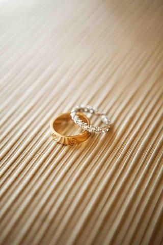 gold-mens-band-and-diamond-platinum-bridal-ring