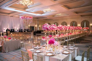 wedding-reception-dallas-ballroom-pink-flowers-square-rectangle-tables-gold-chairs