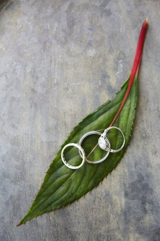 wedding-bands-on-green-leaf-with-vintage-engagement-ring-side-stones