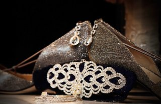 metallic-wedding-shoes-crystal-clutch-halo-drop-earrings-bangles-and-yellow-diamond-ring