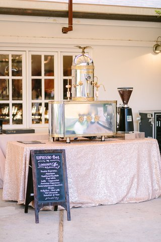 espresso-bar-metallic-linen-faux-wedding-party-styled-shoot-rustic-event-longshot-coffee-machine