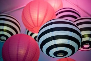black-and-white-striped-paper-lanterns-and-pink-spheres