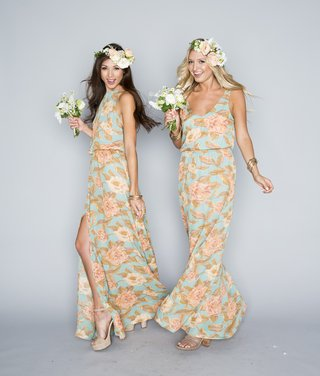 tank-and-halter-bridesmaid-dresses-in-peach-and-blue-floral-pattern