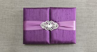 violet-gatefold-wedding-invitation-box-with-light-purple-ribbon-crystal-brooch