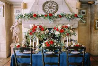 beauty-beast-movie-styled-wedding-shoot-navy-tablescape-red-white-flower-arrangements-chateau-small