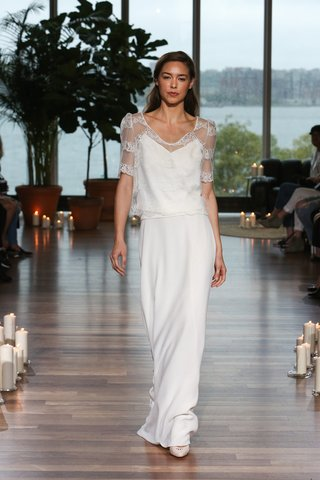 laure-de-sagazan-fall-2018-sheer-loosely-fitted-lace-topper-over-slip-simple-sheath-skirt
