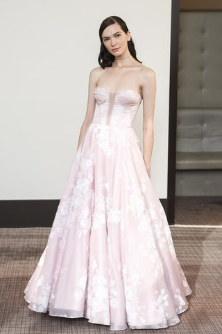 gracy-accad-fall-2018-pink-floral-silk-satin-organza-strapless-bustier-with-deep-v