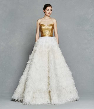 kelly-faetanini-spring-2017-olga-strapless-wedding-dress-painted-gold-bodice-ostrich-feather-skirt