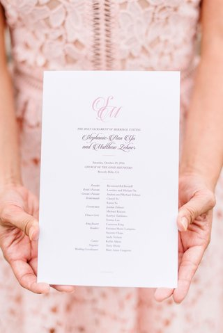 wedding-ceremony-program-simple-pink-monogram-script-with-list-of-attendants-bridal-party