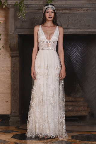 claire-pettibone-fall-2017-nightingale-plunging-neckline-inset-embroidered-belt-layered-lace-skirt
