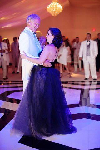 bride-in-black-vera-wang-wedding-dress-with-father-of-bride-dancing