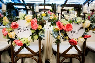 wedding-reception-wood-chair-bride-and-groom-calligraphy-sign-with-bright-colorful-flower-decor