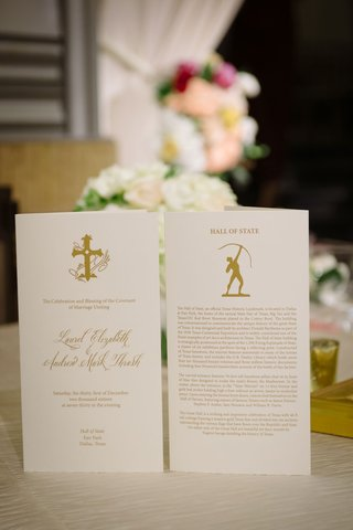 wedding-ceremony-program-white-stationery-with-gold-writing-and-motif-calligraphy-details-hall-state