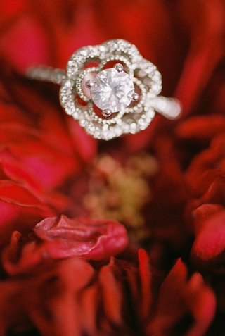 beauty-beast-movie-styled-wedding-shoot-floral-shaped-engagement-ring-on-red-flowers-unique-jewelry