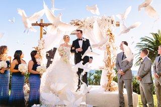 bride-in-demetrios-groom-in-ermenegildo-zegna-doves-released-at-the-end-of-ceremony