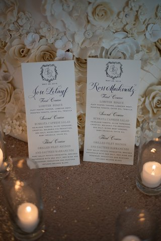 calligraphy-menus-with-names-of-each-guest-and-monogram-in-front-of-wedding-cake