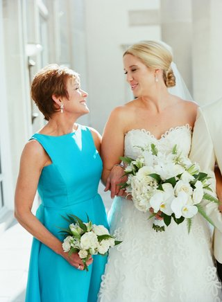 bride-in-strapless-wedding-dress-sweetheart-neckline-with-mother-of-bride-in-high-neck-turquoise