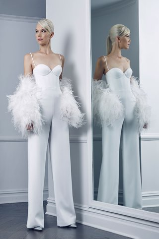romona-keveza-collection-bridal-fall-2018-jumpsuit-with-feather-jacket-spaghetti-straps