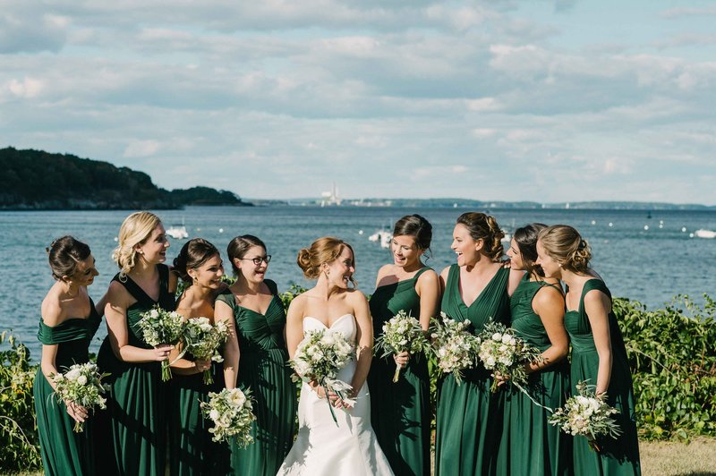Bride, Bridesmaids in Deep Green