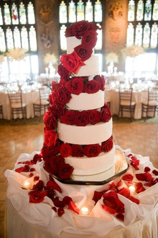 white-wedding-cake-decorated-with-red-roses