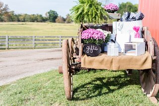 wedding-gifts-on-rustic-wagon-at-farm-wedding