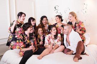 bridesmaids-in-black-floral-bridesmaid-robess-bridesman