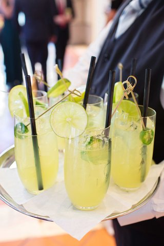 margarita-jalapeno-slices-silver-platter-black-straws-drinks-cocktail-hours-green-yellow-coloring