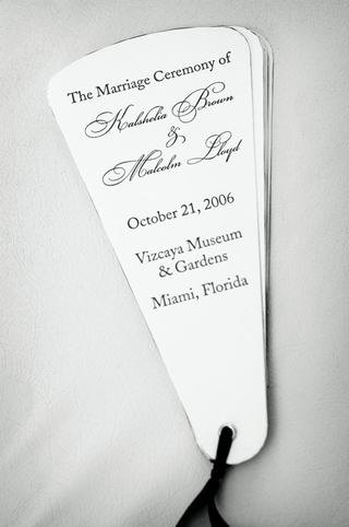 black-and-white-wedding-program-fans