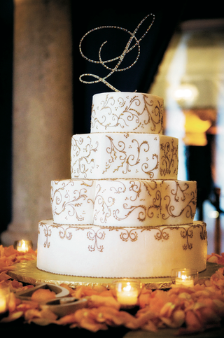 four-layer-wedding-cake-with-rhinestone-initial-cake-topper