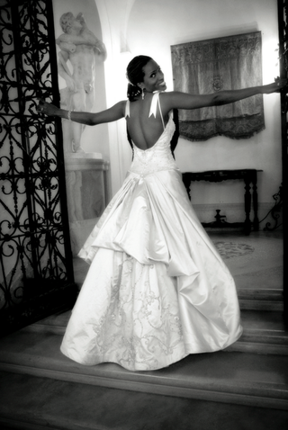 black-and-white-photo-of-ball-gown-wedding-dress