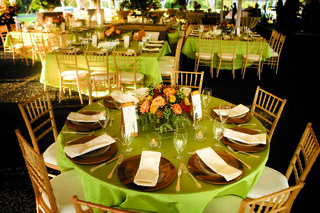 wedding-reception-tables-with-light-green-tablecloths