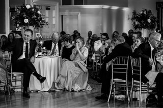 black-and-white-photo-of-wedding-guests-at-tables-bruce-bochy-at-wedding-of-duane-kuipers-daughter