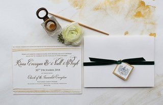 neutral-wedding-invitation-simple-calligraphy-with-tan-details-and-forest-green-velvet-ribbon