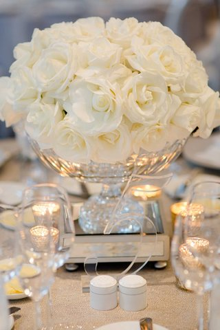 wedding-reception-centerpiece-low-arrangement-white-roses-clear-number-five-lucite