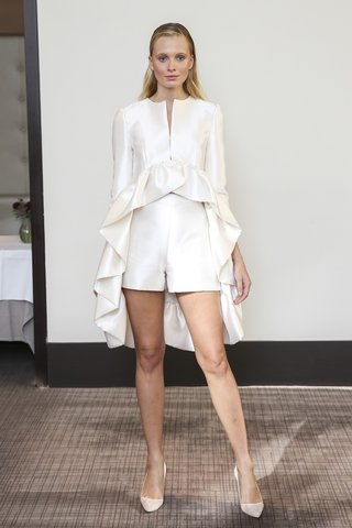 gracy-accad-fall-2018-ivory-silk-and-wool-coat-high-low-with-flounced-edge-and-shorts