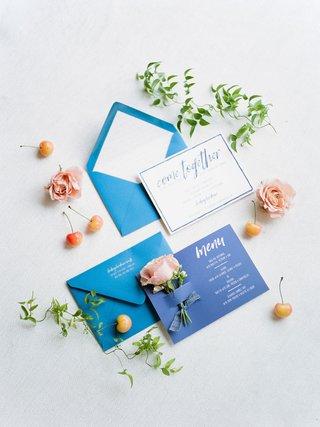 bridal-shower-invitation-and-menu-card-blue-pink-flowers-cherries-white-calligraphy-modern-design