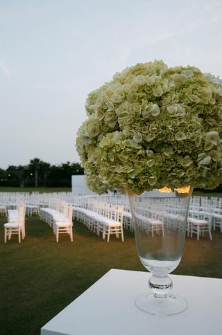green-hydrangea-flower-arrangement-at-wedding-ceremony