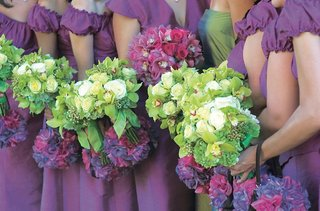purple-bridesmaid-dresses-with-lime-green-bouquets