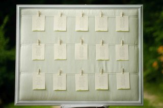 wedding-table-assignments-hanging-from-clothespins