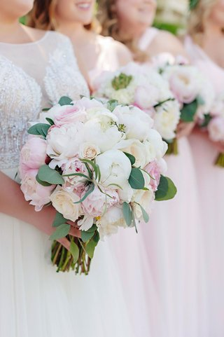 wedding-bouquet-and-bridal-bridesmaid-bouquets-pink-peony-white-peony-garden-rose-green-leaves