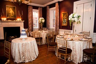 small-wedding-in-restaurant-with-damask-print-linens