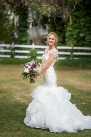 bride-wearing-hayley-paige-wedding-dress-outside