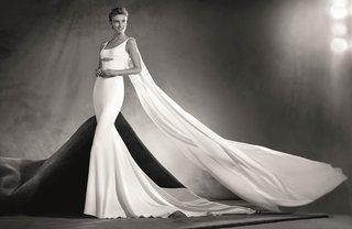 atelier-pronovias-2017-edurne-crepe-wedding-dress-with-round-neckline-straps-cape-black-and-white