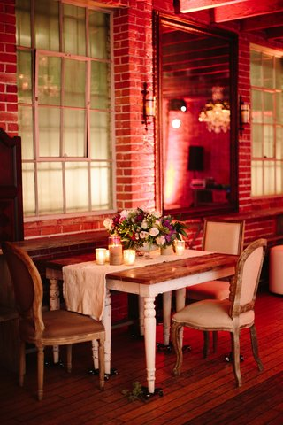 shabby-chic-wedding-table-with-plush-chairs-and-runner