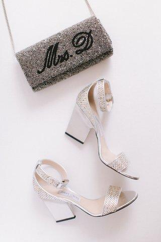 wedding-shoes-platform-thick-heel-sandal-metallic-design-ankle-strap-custom-bag-clutch-glitter