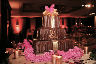 brown-frosted-cake-with-gold-and-copper-details