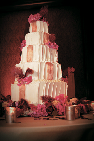 five-layer-white-cake-with-golden-ribbon